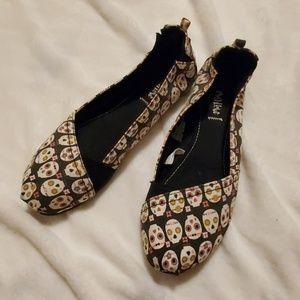 Mad Love Sugar Skull Slip-On Shoes - Size 11